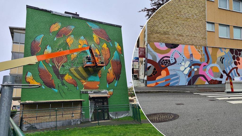Husväggar med graffitti.