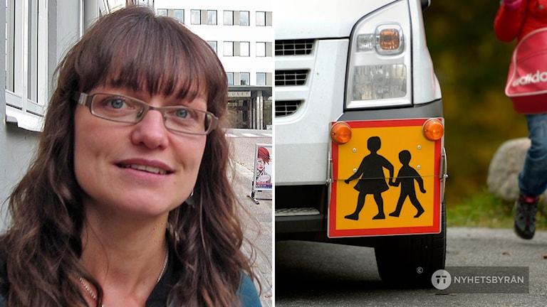 Anna Svalander (FP) och bild på en skolskjuts.