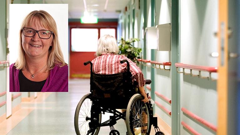 En kvinna i rullstol på ett äldreboende. Infälld en bild på Annelie Sundler.