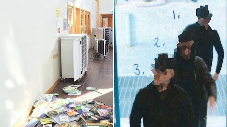 Tvådelad bild, från drabbade Mogaskolan och en övervakningsbild på de misstänkta männen.