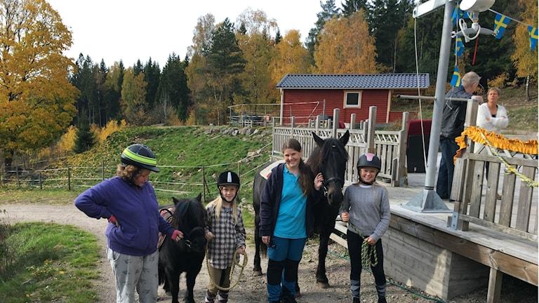 Emma Einarsson, Nora Schneider, Jeanette Kobilsek och Annie Amour och två hästar.