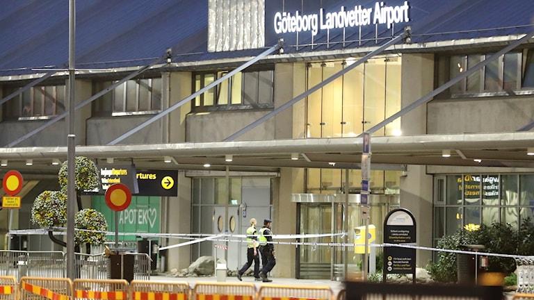 Fadasden på avgångshallen på Landvetters flygplats.