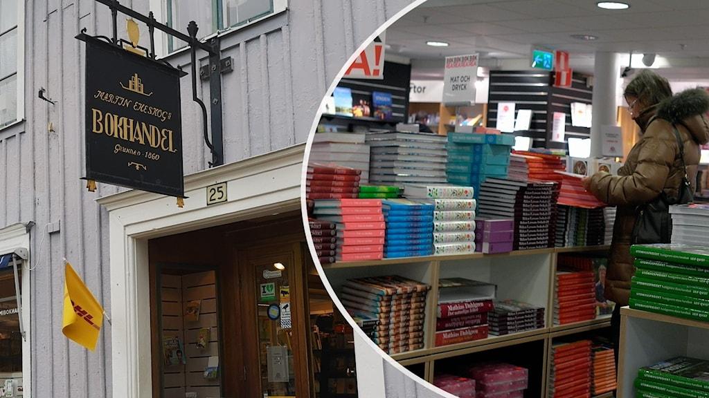 Entrén till en bokhandel i Ulricehamn. Arkivbild från bokrea.