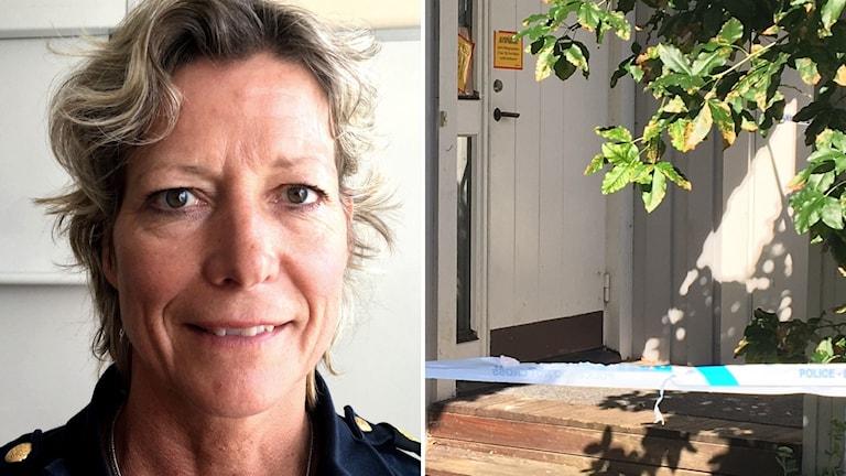 Lena Matthijs polischef och till höger den avspärrade bostaden där en man sköts i Herrljunga.