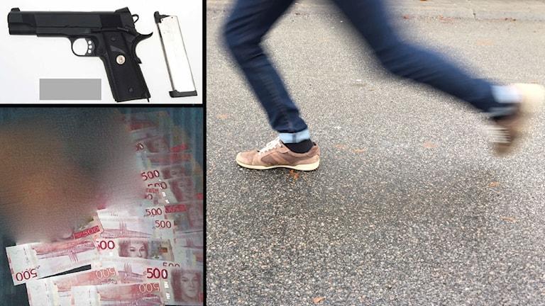 Kollage med bilder på ett par springande ben och bilder från polisens förundersökning på en pistol och ett suddigt ansikte som ligger på 500-lappar.