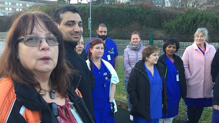 Protesterande mentalskötare på SÄS.