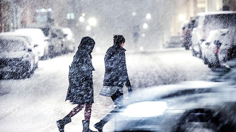 Fotgängare i kraftigt snöfall