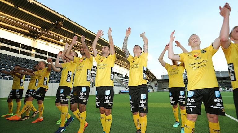 Elfsborg segerjublar efter att ha vunnit bortamötet med Dalkurd tidigare i år.