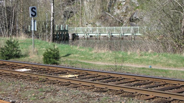 Järnvägen vid kraftverket i Viskafors
