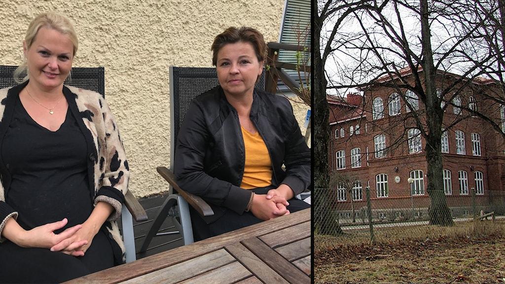 Två kvinnor sitter utomhus vid ett bord. Inklippt bild på Norrbyskolan.