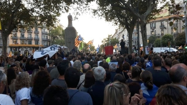 Folhav inramade av träd på ett torg i Barcelona.