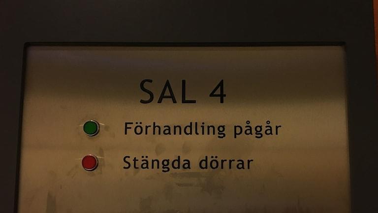Rättegång i säkerhetssalen i Göteborg.