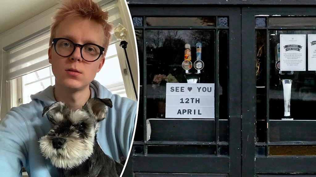 En man med hund och lockdown Storbrittanien.
