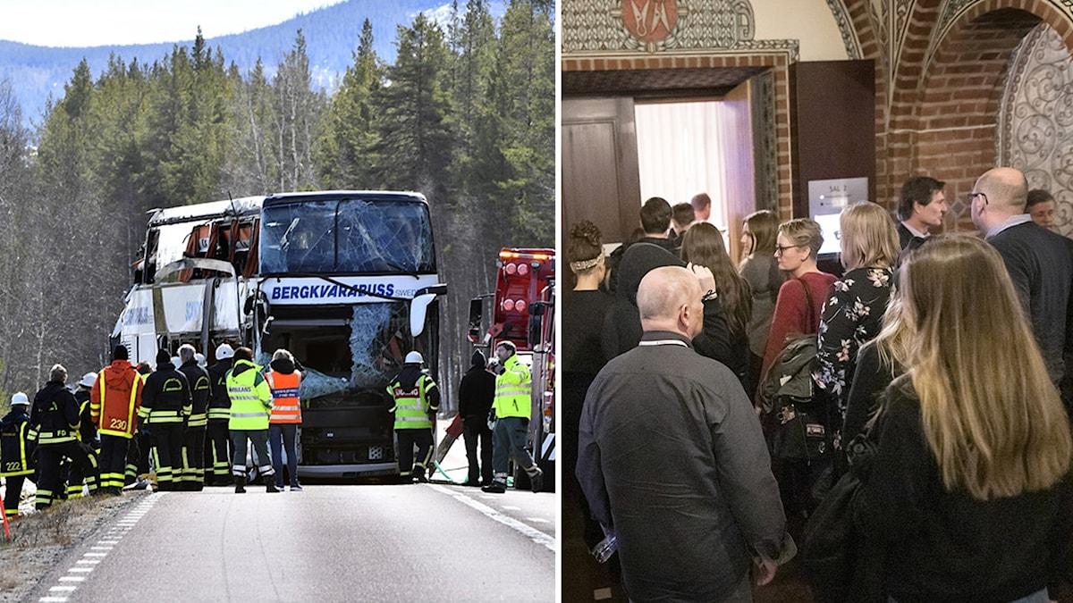 Buss från Bergkvarabuss och personer vid rättssal.