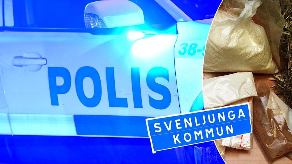 Polisbil, tullbeslag av narkotika och kommunskylt för Svenljunga.