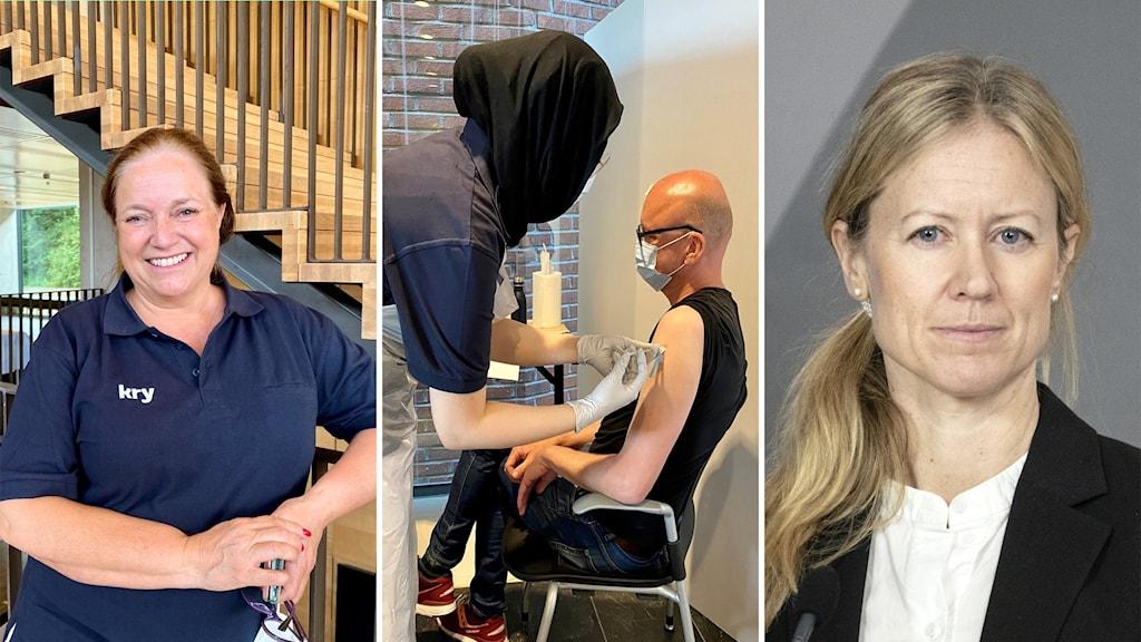 Tredelad bild. Till höger kvinna, i mitten man som vaccineras, till höger porträtt på en kvinna.