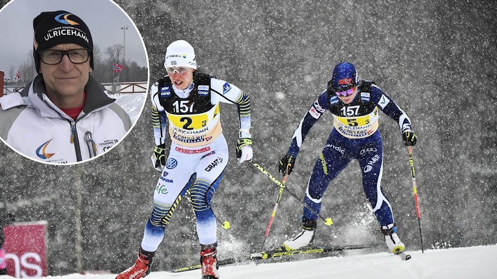 Två skidåkare åker upp för en backe.