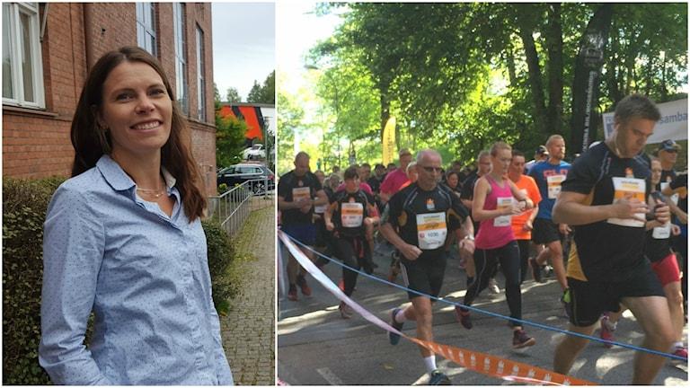 Linda Svedensten och ett gäng löpare.