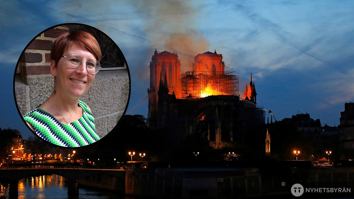 Sofia Falk inklippt i bild av Notre-Dame