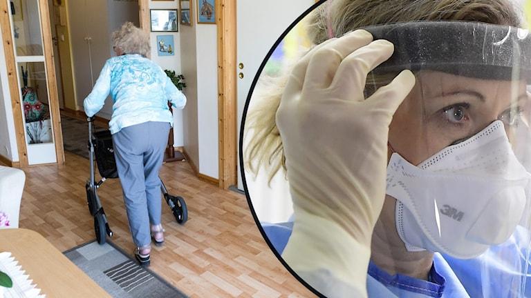 En genrebild där en äldre dam syns med rullator i sitt hem och en kvinna med ansiktsvisir inom vården.