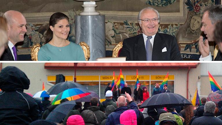 """Mathias Melo ställer två nyheter i kontrast mot varandra i veckans nyhetslåt – födelsen av prinsessan Leonore och manifestationen """"Regnbågskärlek"""" i Kinna i lördags."""