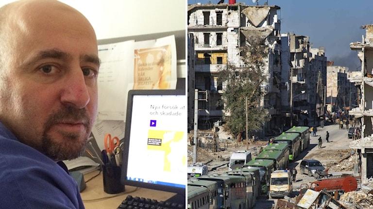 Yaser Tafnkji läser på internet om vad som sker i Aleppo.