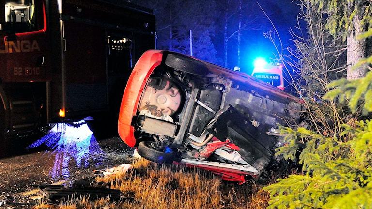 Olyckan mellan Överlida och Östra Frölunda. Foto: Joakim Eriksson, Agena Foto.