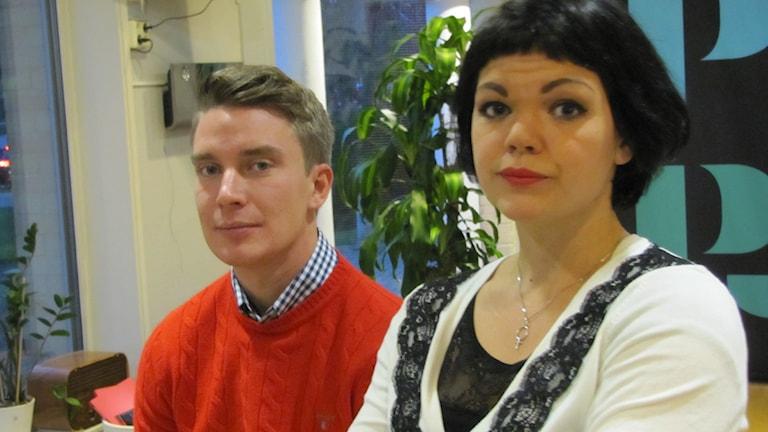Johan Österlund (SD) och Ida Legnemark (V). Foto: Niclas Odengård.