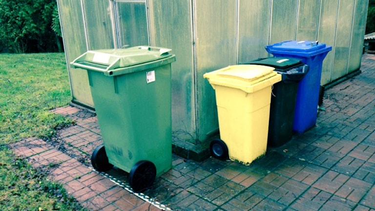 Inge Olsson skickade bilder från sin återvinning: Olika kärl för plåt, plast o skrot. Sen det gröna från kommunen.