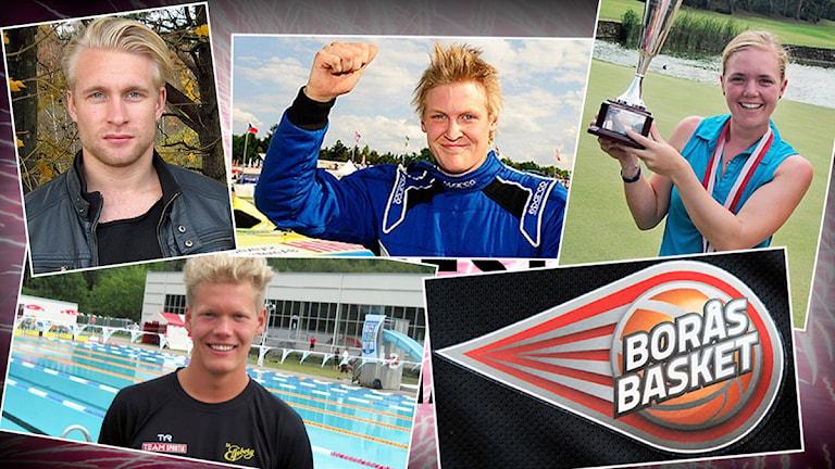 Övre raden fr. v: Johan Larsson - fotboll, Robin Larsson - rallycross, Emma Westin - golf. Nedre raden: Adam Paulsson - simning och Borås Basket.