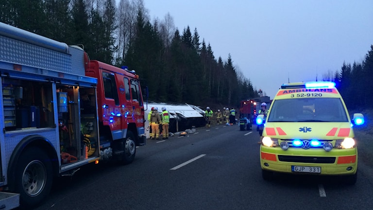 Bussolyckan i Tranemo. Foto: Peter Elvemo/P4 Sjuhärad