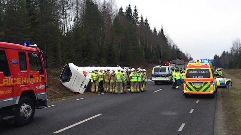 Bussolyckan utanför Tranemo. Foto: Joel Wendle.