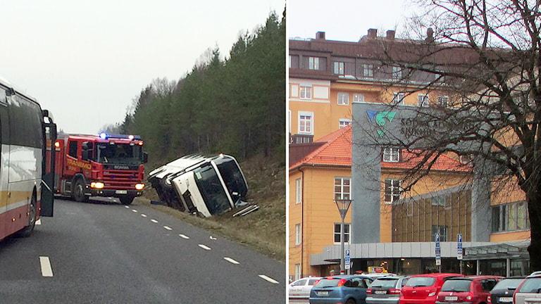 Ett antal skadade vårdas på SÄS i Borås efter bussolyckan utanför Tranemo. Foto: P4 Sjuhärad.