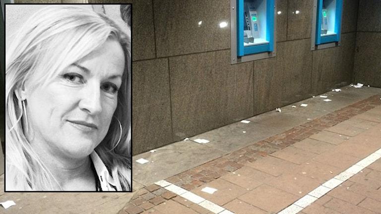 Anna Grahn gillar inte skräpet vid bankomaterna på Allégatan. Foto: privat.