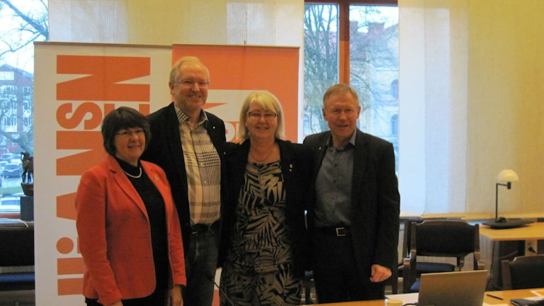 Kerstin Hermansson (C), Morgan Hjalmarsson (Fp), Annette Carlson (M) och Falco Güldenpfennig (Kd). Foto: Adam Koskelainen