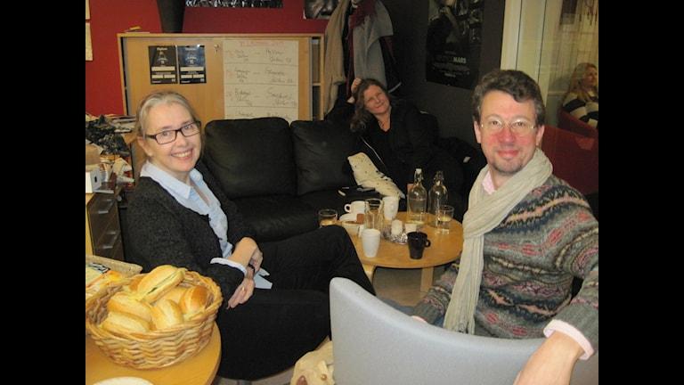Några av gäster i programmet om Borås, Jacqueline Björnram, tidigare kyrkoherde i Borås, Helena Alcenius, BoråsBorås och Marcus Bergman, Gina Tricot. Foto: Jenny Hellström