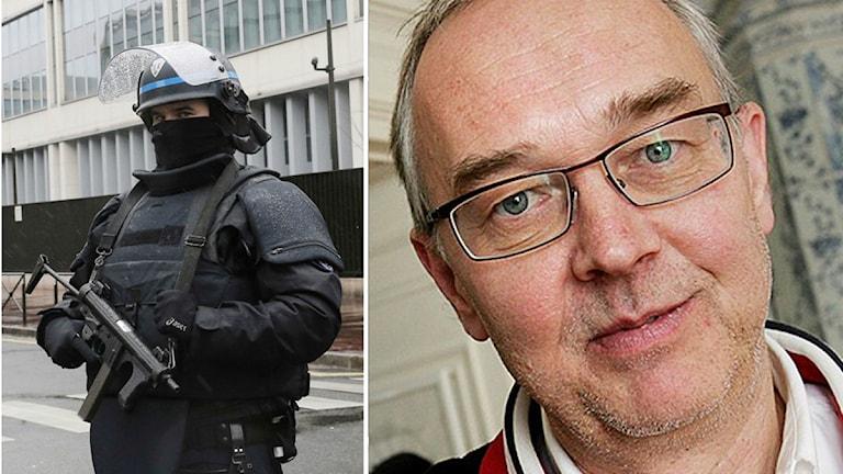 En specialpolis i Paris. Till höger journalisten Nils Funcke. Foto. TT.