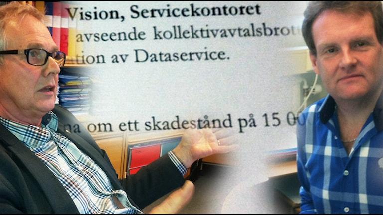 Oense. Servicekontorets chef Ingemar  Persson, och till höger, fackordförande Hasse Brännmar. Foto: Jenny Hellström.