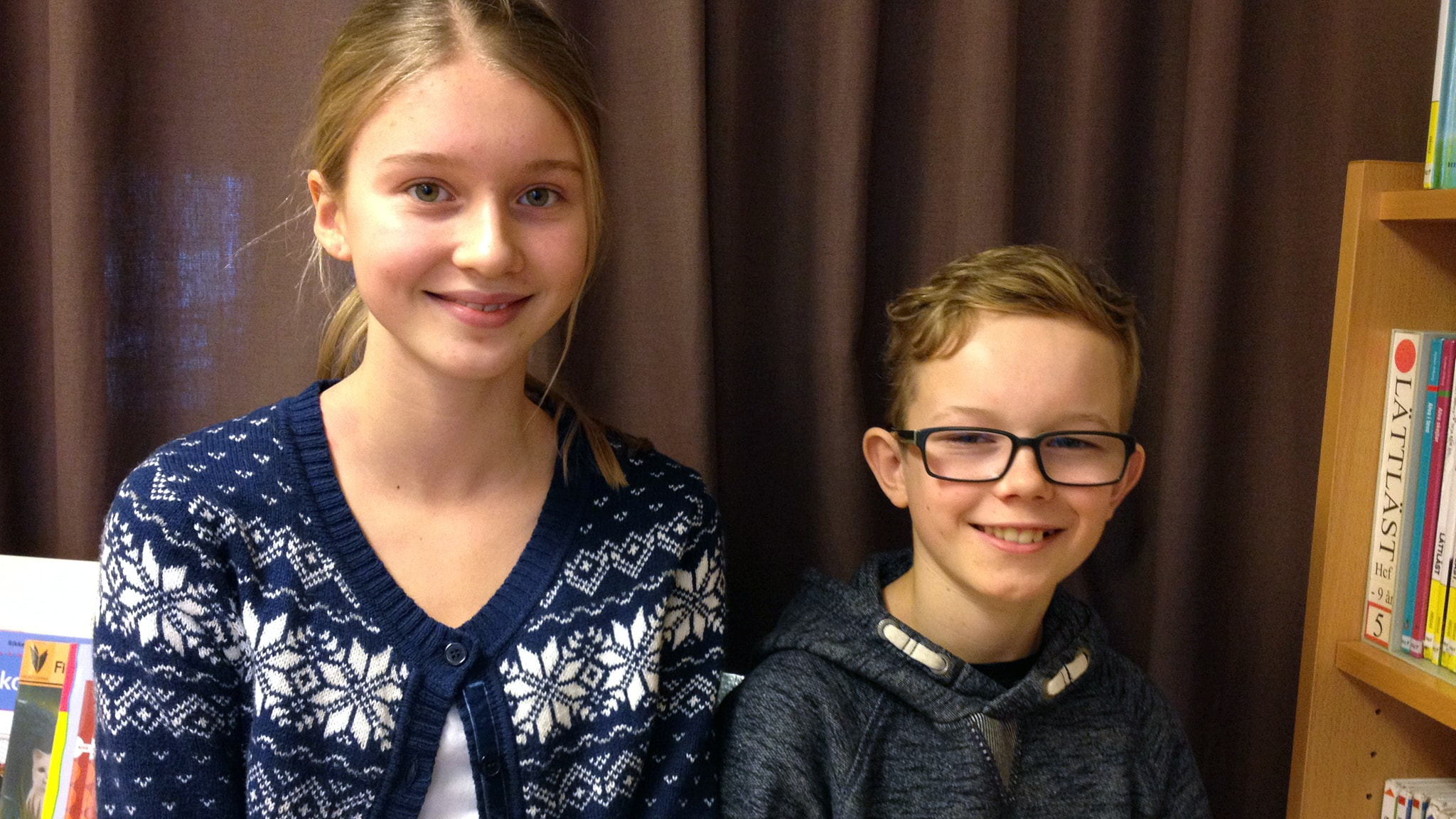 Hilda Rönn och Edwin Mattson från Ulrikaskolan i Ulricehamn.
