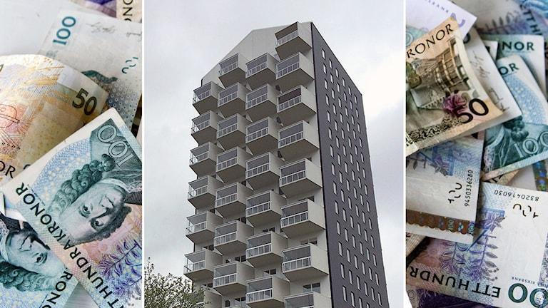 Höghuset Nejlikan i Borås - ett av husen där bostäderna sålts för miljonbelopp. Foto: P4 Sjuhärad/TT.