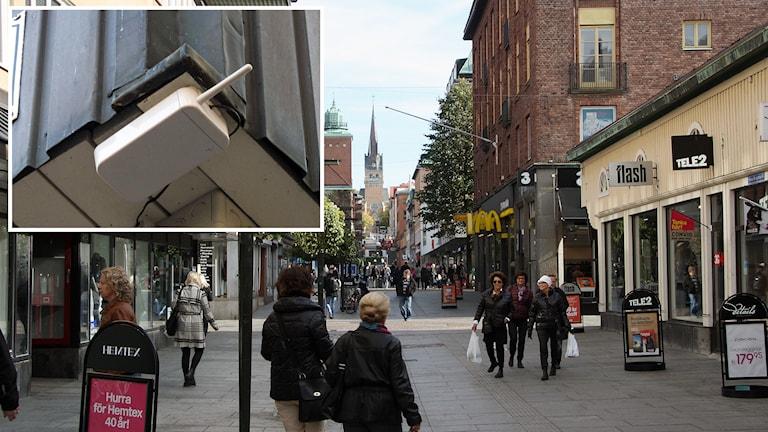 Övervakningsnoder likt denna sätts nu upp i Borås. Foto: Sveriges Radio.