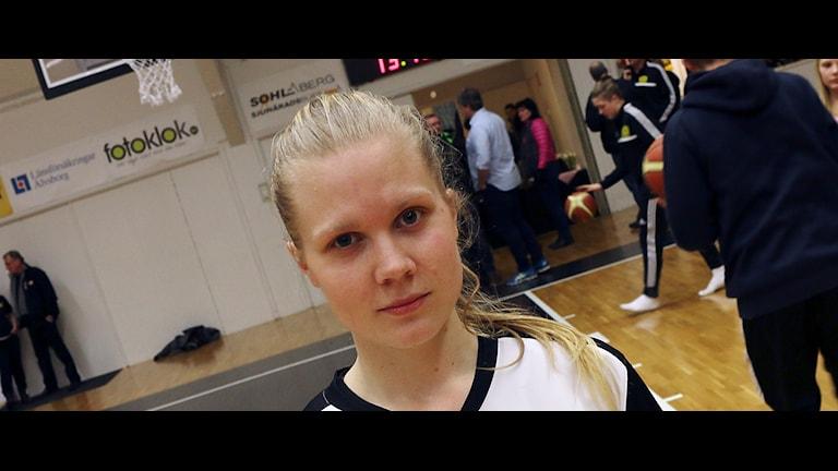 Therese Andersson Broman efter segern mot 08 Stockholm. Foto: Peter Elvemo