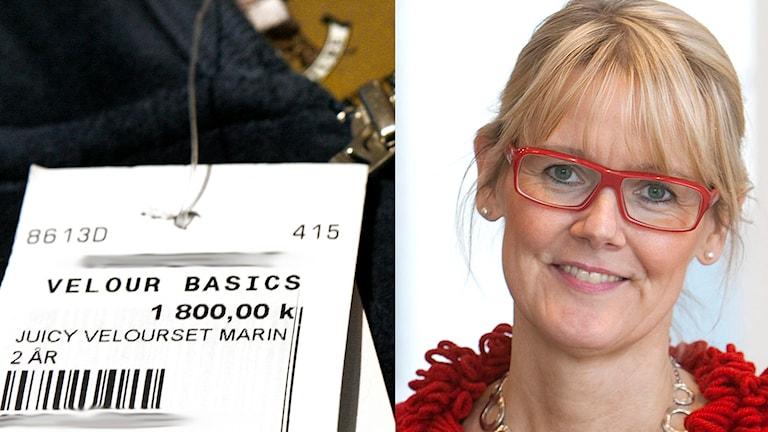 Tröja för en tvååring för 1800 kronor. Till höger: Karin M Ekström, konsumtionsforskare vid Högskolan i Borås. Foto: Mona-Lisa Djerf/SvD och P4 Sjuhärad.