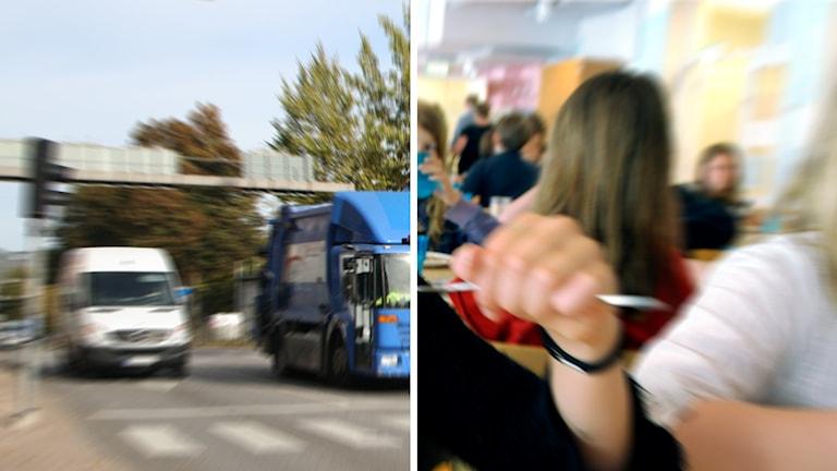 """Skolmatsal - lika """"brusig"""" som en genomfartsled. Foto: Foto: Janerik Henriksson/TT och P4 Sjuhärad."""