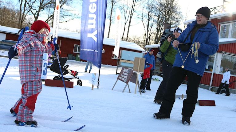 Barnens Vasalopp på Borås skidstadion. Foto: Peter Elvemo/SR.
