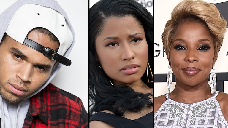 Några av världsartisterna som fått sina låtar stulna är Chris Brown, Nicki Minaj och Mary J Blige. Foto: TTbild/Montage:Erika Larsson.