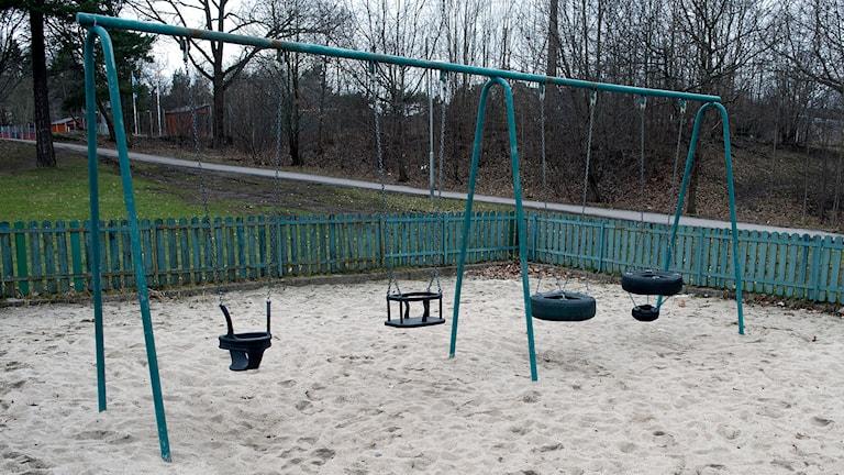 Öde lekplats, men inte i Marks kommun. Foto: Bertil Enevåg Ericson/TT.