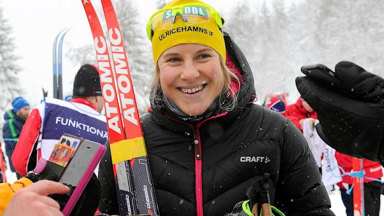 Ulricehamns IF Hanna Falk när hon vann SM-sprinten i början av februari. Foto: Fredrik Sandberg / TT.