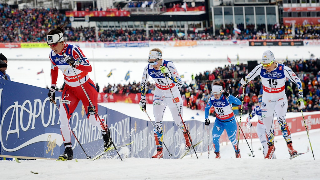 Damernas sprintsemifinal från skid-vm 2015. Ulricehamns Hanna Falk längst till höger.