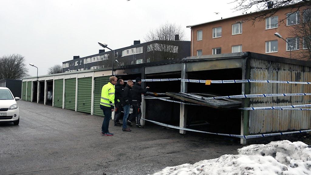 Garagagebranden på Hulta i Borås. Foto: Sara Kvist.